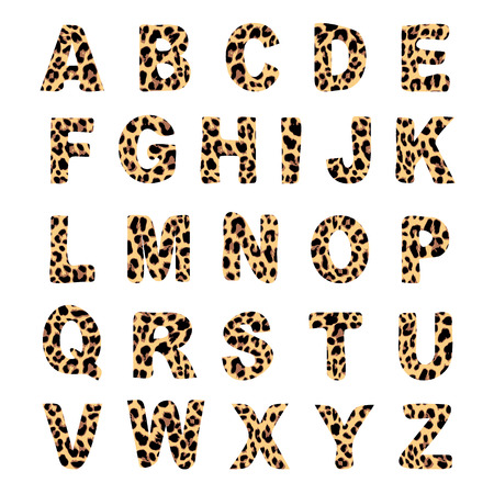 Trendy alphabet set, leopard pattern design, vector illustration, font Çizim