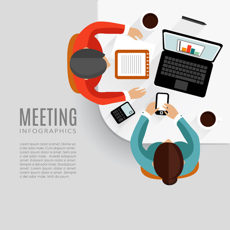 business desk: Concept of business meeting, brainstorming, teamwork, flat design, vector background Illustration