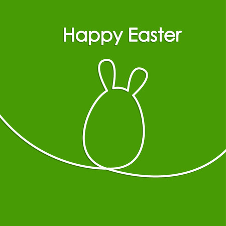 egg shape: Easter card with line hare or rabbit, egg shape, modern vector illustration background