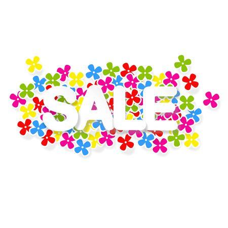Spring or summer sale design with colorful flowers, vector illustration background Illustration