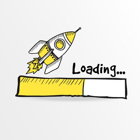 Loading bar s doodle raketou, vektorové ilustrace
