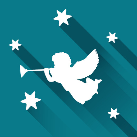 Silhouette of angel with trumpet and stars, web icon with long shadows, vector illustration background Illustration