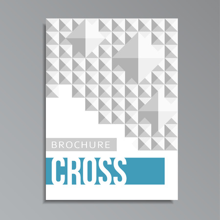 Modern geometrical cover template with mosaic square cross pattern, vector illustration background