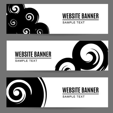 Reeks abstracte zwart-wit waterverf of inkt geschilderde banners met spiralen, kopballen, illustratieachtergrond Stock Illustratie