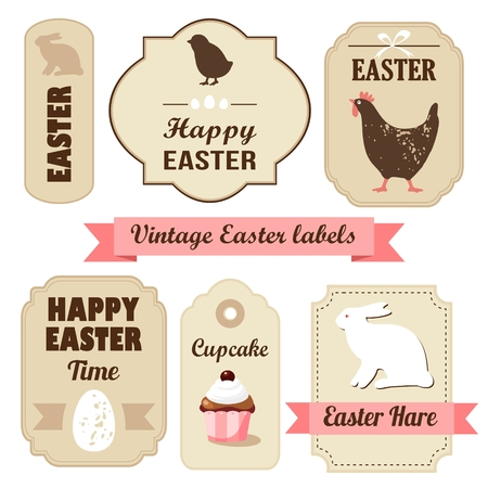 Cute retro easter set of labels with eggs, chicken, bunny, ribbons and other elements, vector illustration