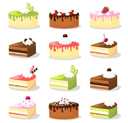 vanilla cake: Cute retro set of various cakes  with cream and fruit, vector illustration food collection
