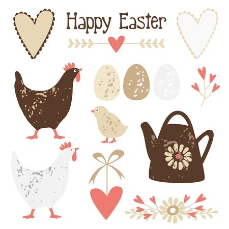 hen: Cute vintage easter elements set with eggs, hens and flowers, vector illustration