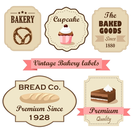 Set of vintage retro bakery labels, stamps and design elements, isolated vector illustrations Illustration