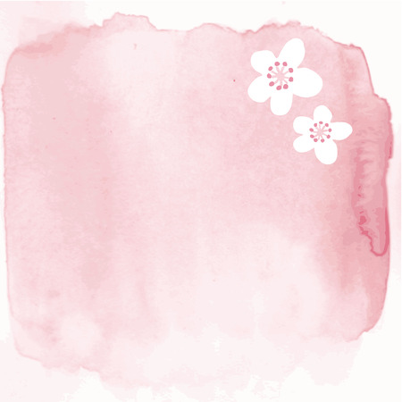 Hand painted watercolor background with japanese cherry blossoms, vector illustration card, invitation