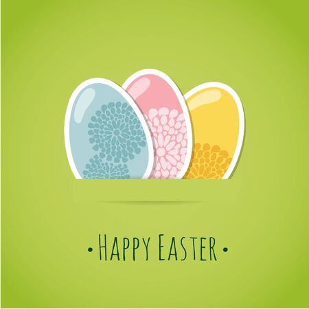 yellow art: Cute easter card with painted easter eggs, vector illustration background Illustration