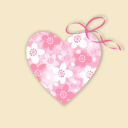 Cute wedding, birthday card, invitation with floral heart, japanese cherry blossoms, vector illustration background