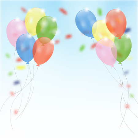 Birthday party background with flying balloons and confetti, vector illustration