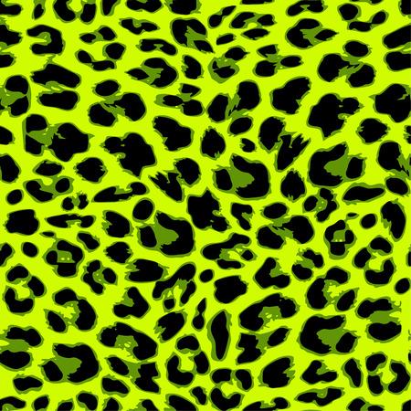 Leopard seamless pattern design in trendy green color, vector illustration background