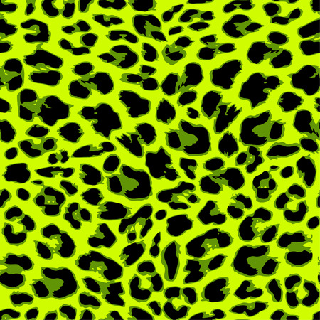 Leopard seamless pattern design in trendy green color, vector illustration background