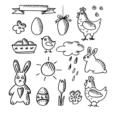 Set of spring easter doodle sketches, icons, isolated vector illustrations Vector