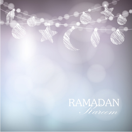 Garlands with moon, stars, lights, vector illustration background, card, invitation for muslim community holy month Ramadan Kareem Çizim