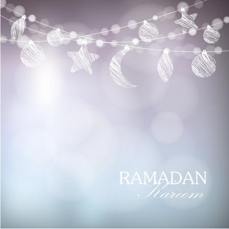 Slingers met maan, sterren, lichten, vector illustratie achtergrond, kaart, uitnodiging voor moslimgemeenschap heilige maand Ramadan Kareem