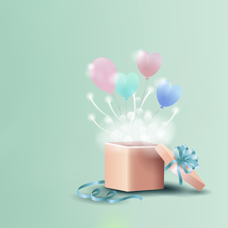 Birthday card, invitation with open gift box and heart shaped balloons, vector illustration background Vector