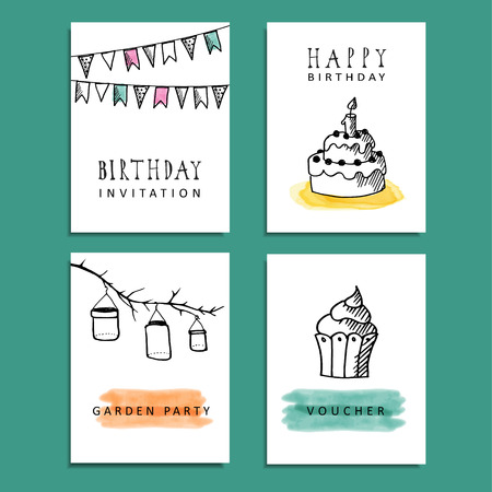 garden parties: Set of hand drawn birthday party cards, invitations with doodle sketches, vector illustration backgrounds