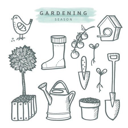 hand shovel: Set of gardening doodle sketches, isolated vector objects