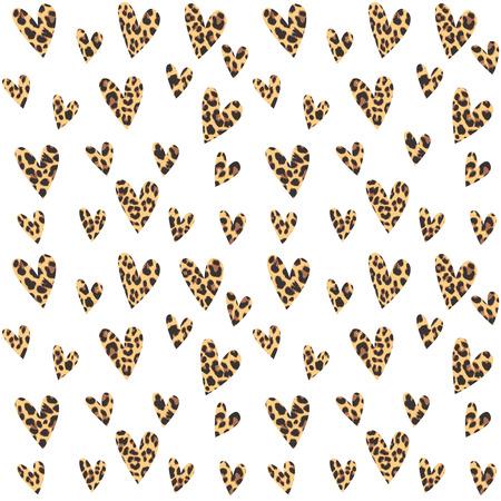 Bezešvé vzorek s leopardí srdíčky, módní design, vektorové ilustrace pozadí