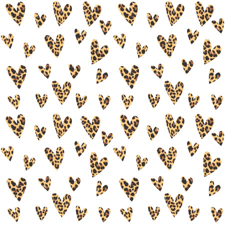 leopard: Seamless pattern with leopard hearts, trendy design, vector illustration background