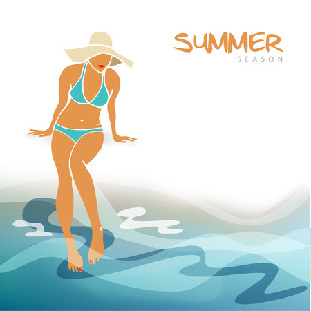 young woman sitting: Summer holiday, vacation card, invitation with a young woman sitting on the beach, vector illustration background