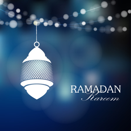 vector lamp: Illuminated arabic lamp, lantern with lights, vector illustration background for muslim community holy month Ramadan Kareem
