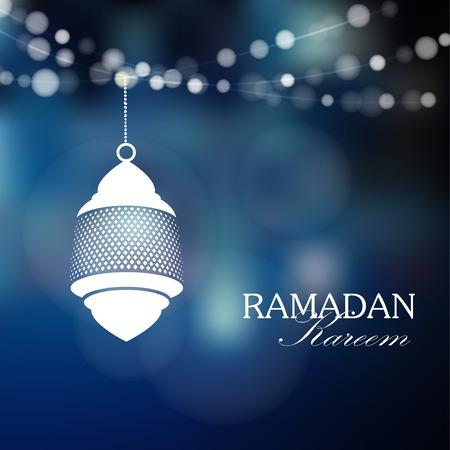 Lámpara árabe Iluminado, linterna con luces, ilustración vectorial de fondo para la comunidad musulmana mes sagrado del Ramadán Kareem
