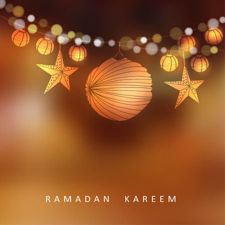 Illuminated paper lanterns and stars with lights, vector illustration background for muslim community holy month Ramadan Kareem Ilustracja