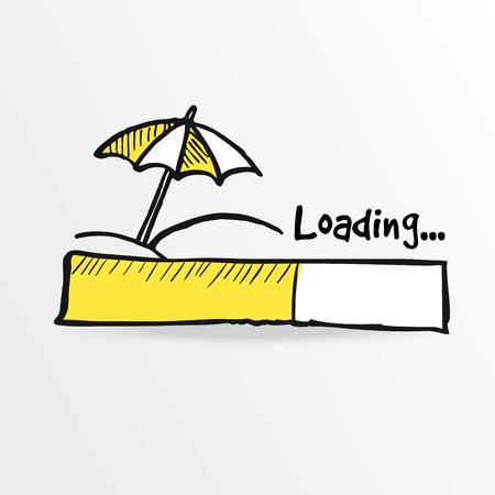 barre de chargement avec parasol sur la plage, le concept des vacances d'été, illustration croquis Vecteurs