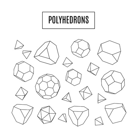 icosahedron: Set of 3d polyhedrons, modern hipster line art icons, crystal, geometrical concept, vector illustration