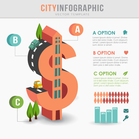 dollar sign icon: Flat 3D isometric city infrastructure infographics, costs concept, dollar shape, vector illustration Illustration