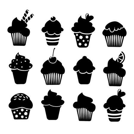 magdalenas: Conjunto de cupcakes y magdalenas negro iconos, ilustraciones vectoriales aislados sobre fondo blanco