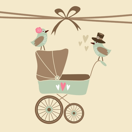Cute baby shower invitation, birthday card with baby carriage and birds, vector illustration background Stock Illustratie