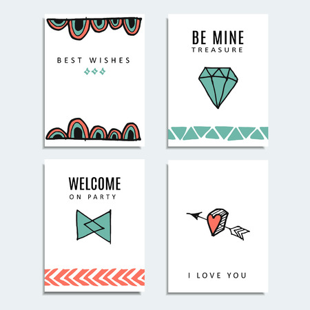 birthday cards: Set of wedding and birthday cards, hipster design, vector illustration background Illustration