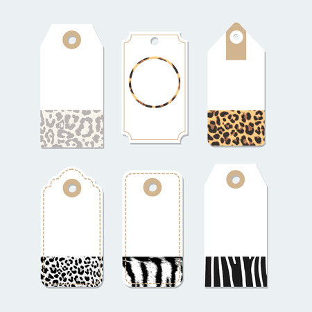 leopard print: Set of various tags, labels with trendy animals skin patterns, vector illustration backgrounds