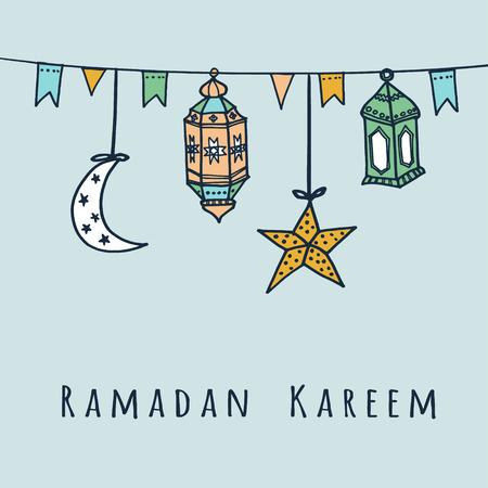 イスラム教徒のコミュニティの聖なる月ラマダン カリームのアラビア語の提灯は、フラグ、月と星、ベクター イラスト背景  イラスト・ベクター素材