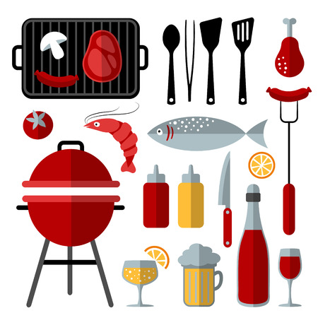 fish steak: Set of barbecue food and utensils elements trendy flat design, isolated vector objects Illustration