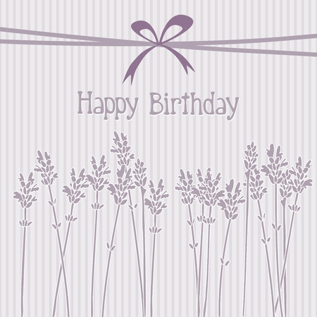lavender flower: Romantic lavender birthday card invitation vector background