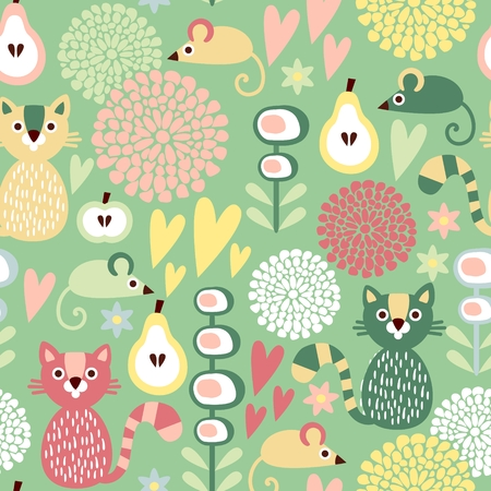 Cute colorful cartoon seamless floral vector pattern with animals cat and mouse Vector