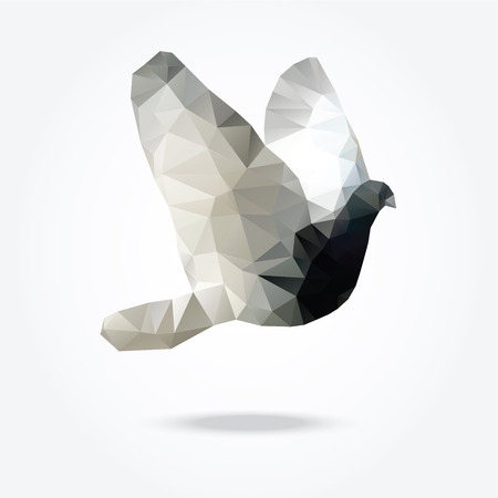 Modern polygon illustration of flying bird dove pigeon vector triangle design