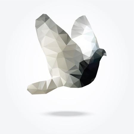 비행 조류 비둘기 비둘기 벡터 삼각형 디자인의 현대 다각형 그림 일러스트
