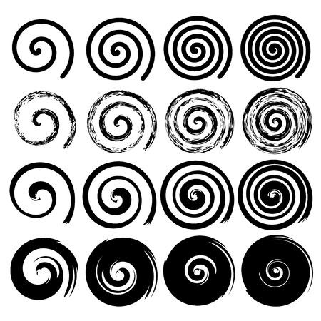 espiral: Conjunto de elementos de movimiento en espiral negro aislado objetos diferentes cepillo textura vector ilustraciones Vectores