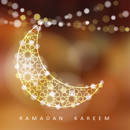 kareem: Ornamental moon with bokeh lights vector illustration background card invitation for the Muslim holy month of Ramadan community Kareem