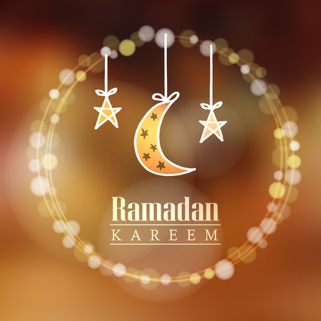 Moon stars bokeh lights vector illustration background card invitation for the Muslim holy month of Ramadan community Kareem