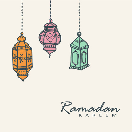 Hand drawn arabic lanterns vector illustration background for the Muslim holy month of Ramadan community Kareem