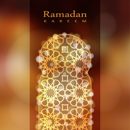 holy night: Ornamental mosque window with bokeh lights, vector illustration background, card, invitation for muslim community holy month Ramadan Kareem Illustration