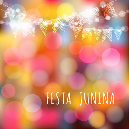 Brazilian june party, vector illustration background with garland of lights and flags Çizim