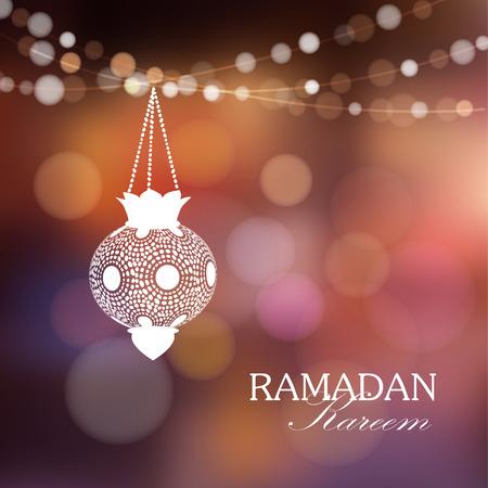 Illuminated arabic lamp, lantern with lights, vector illustration background for muslim community holy month Ramadan Kareem